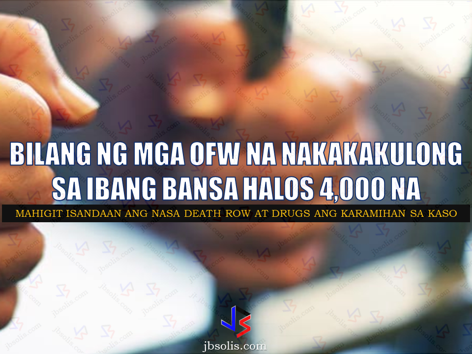 At least 3,827 Filipinos were put in jail, 137 of them including 33 female, serving life sentences, while 625 others are under investigation due to various criminal and immigration-related cases in 52 countries, Senator Ralph Recto said. Citing a 1,084-page Department of Foreign Affairs report to the Senate, most of those Filipinos were jailed for their alleged involvement in drug -related cases. He said the DFA report is a compendium of dispatches sent by Philippine embassies and consulates on the problems confronted by Filipinos in distress within their jurisdiction from July to December 2016. Recto said it will be hard to determine the final number, or piece together a complete picture of Filipinos in trouble with the law abroad as many of the reports submitted by the DFA's 81 foreign posts lacked details or incomplete.    Sponsored Links Sen Recto calls for higher allocation for the assistance of OFWs  being charged or undergoing trials for various cases abroad.  The proposed Assistance to Nationals Fund in 2018 national budget will jump to 150% to P1 billion in 2018, while a legal fund, also managed by the DFA, will be P200 million but according to Sen. Recto, it is still not enough.   From July to December last year, the number of OFWs facing cases abroad is at 4,745 and has probably increased as of this writing.   Sources: Manila Standard, SunStar, ABS-CBN   Advertisement  Read More:          ©2017 THOUGHTSKOTO