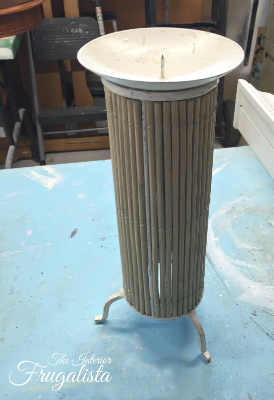 Before photo of thrift store bamboo and metal candleholder