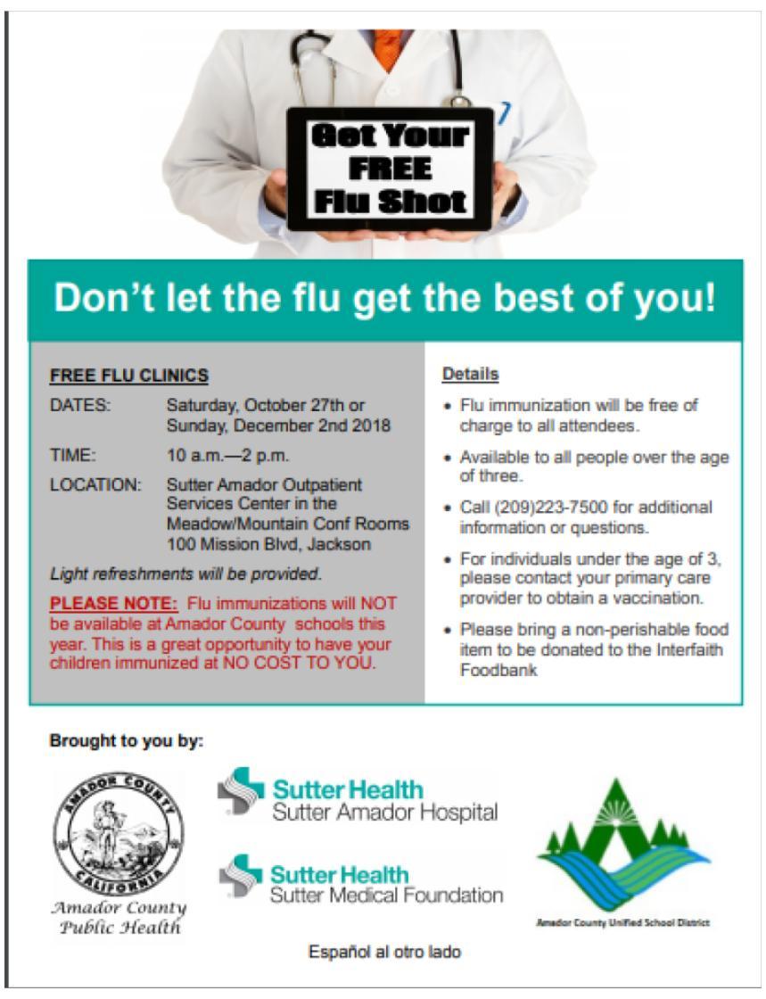 sutter amador hospital free flu shot clinics oct 27 dec 2