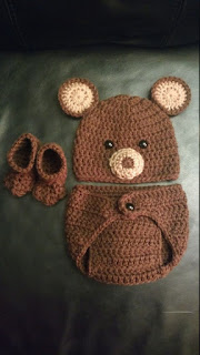 Crochet Newborn Bear Outfit