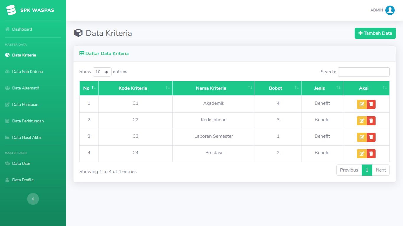 Aplikasi Sistem Pendukung Keputusan Pemilihan Pegawai/Karyawan Terbaik Metode WASPAS - SourceCodeKu.com