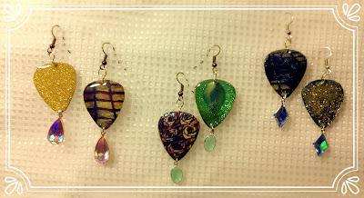 Tiffany Guitar Pick Earrings with dangling gems
