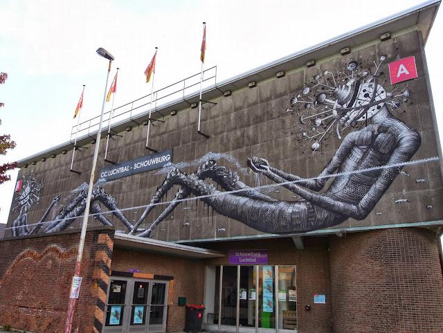Street Art By Phlegm For Day One Festival In Antwerp, Belgium. 2