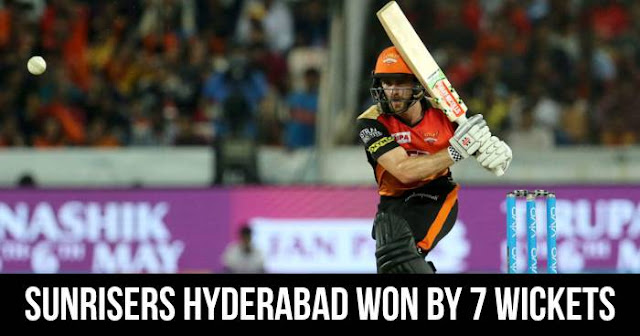 Sunrisers Hyderabad won by 7 wickets