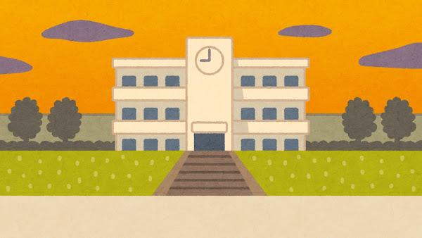 夕方の校舎のイラスト(背景素材)