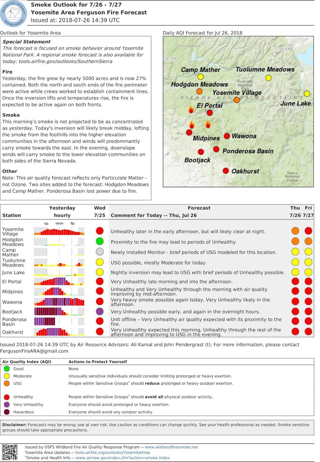 thursday july 26 2018 fergusonfire yosemite area smoke air quality outlook