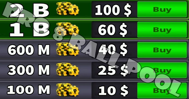 Prices of coins 8 ball pool