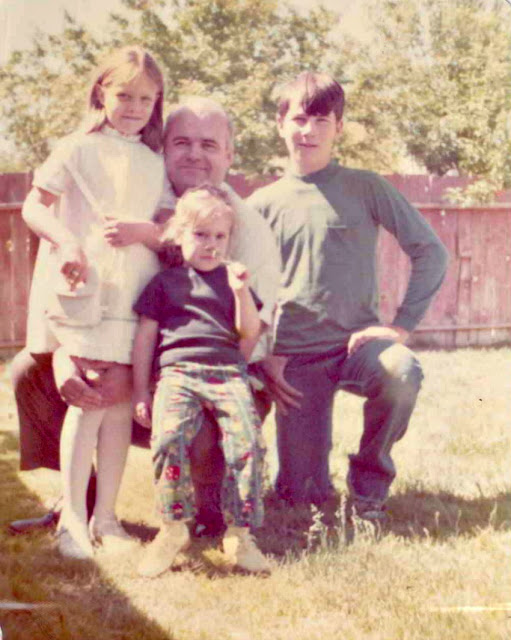 Dad and the Mikkelson kids in the 70s.