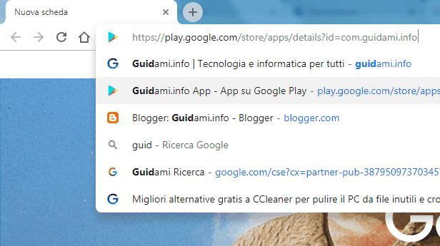 Chrome suggerimenti di ricerca nella barra degli indirizzi