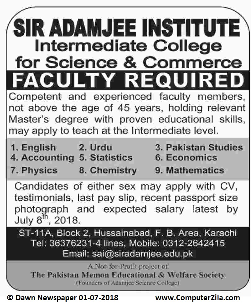 Faculty Required at Sir Adamjee Institute Intermediate College