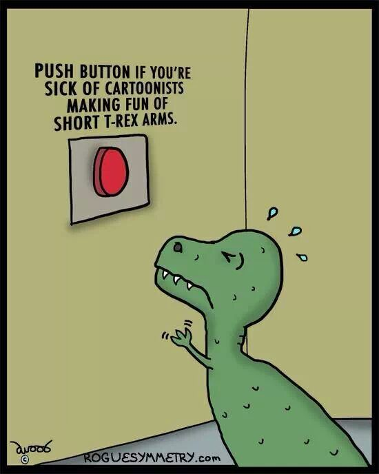 Funny T-Rex Arms Protest Cartoon Joke Picture
