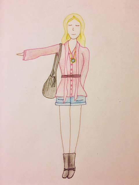 Fashion outfit sketch pencil drawing for fictional character profile, young adult millennial Instagram girl