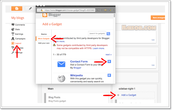 Cara Memasang Widget Contact Form di Blogger