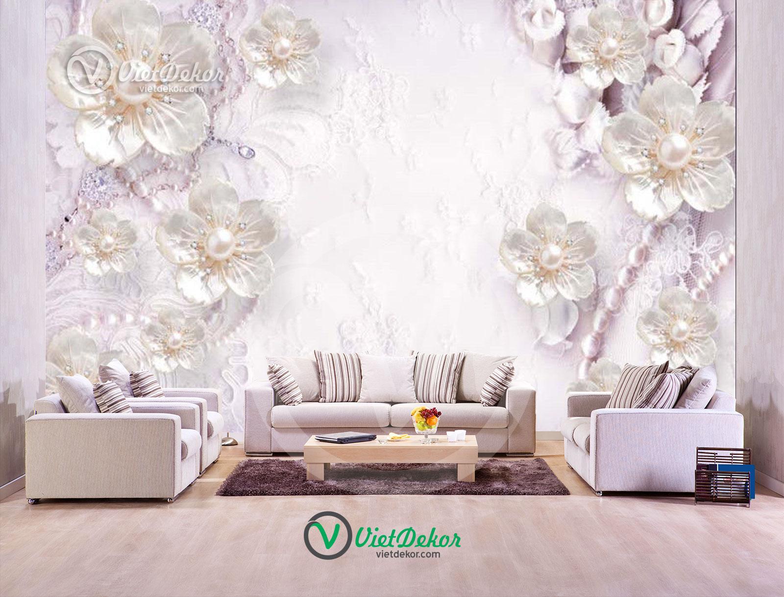 Tranh dán tường 3d hoa trang sức ngọc trai