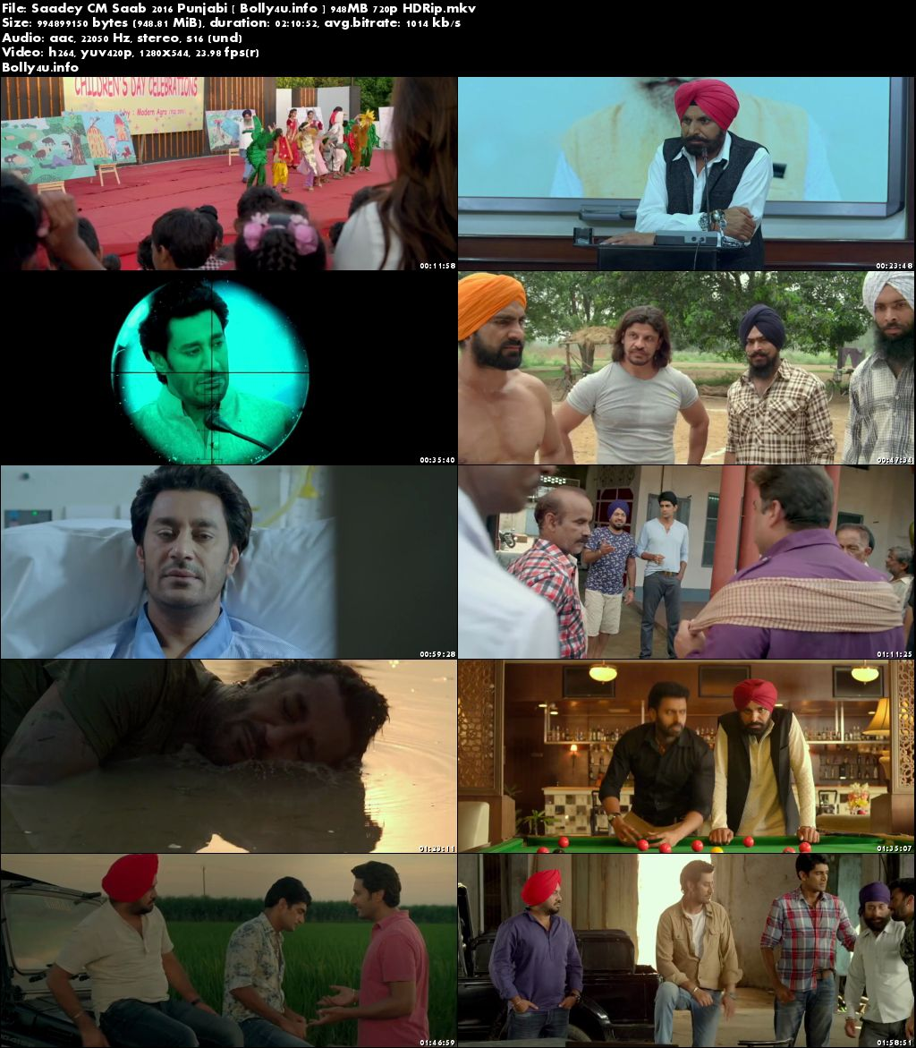Screen Shoots of Watch Online Saadey CM Saab 2016 HDRip 950MB Punjabi Movie 720p Free Download Bolly4u.info