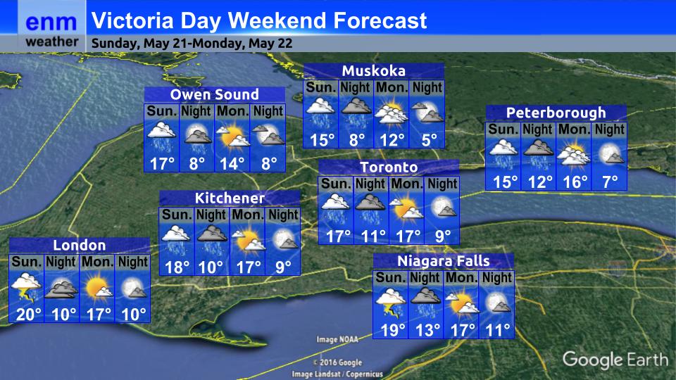 enm weather blog: Victoria Day Forecast: Rainy Sunday, Brighter Monday