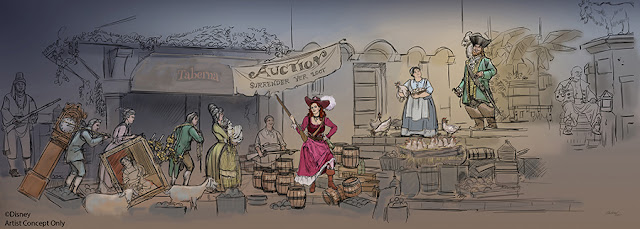 Disney Artist's concept rendering of Pirates of the Caribbean ride scene at Walt Disney World. Image credit: Disney Imagineering