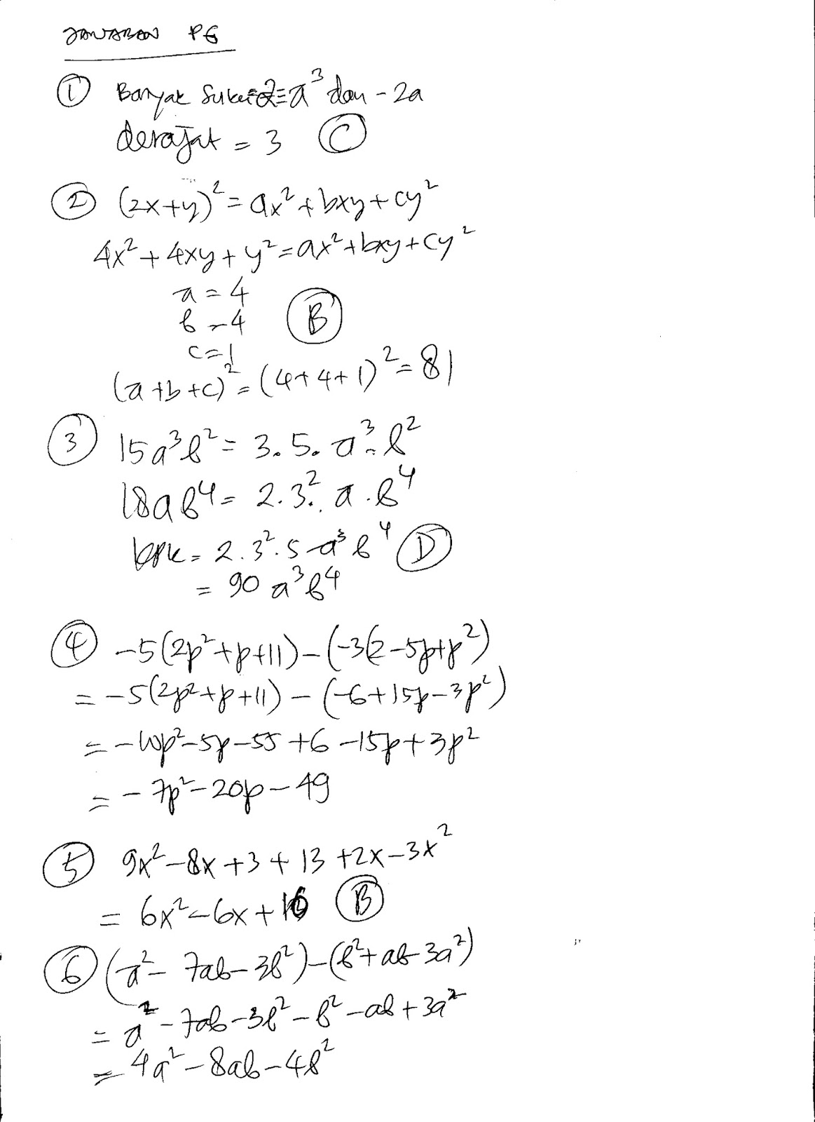 Starbung Jawaban Soal Ulangan Aljabar Kelas 7 Persiapan Remidial