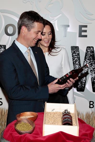 "Crown Prince Couple Frederik and Mary are presented a beer named ""Crown Royal"", brewed especially for their visit"