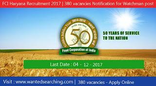 FCI Haryana Recruitment 2017