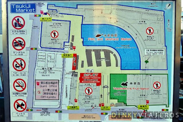 Mapa del mercado de Tsukiji