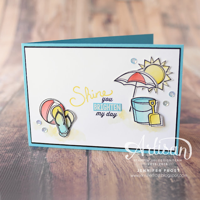 Day at the Beach, Sunburst Sayings, Stampin' Up!, Papercraft by Jennifer Frost, Watercolour for Cardmakers,