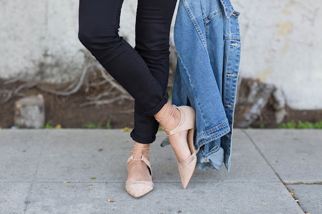 how to wear denim jacket, zara flats, pursuit of shoes