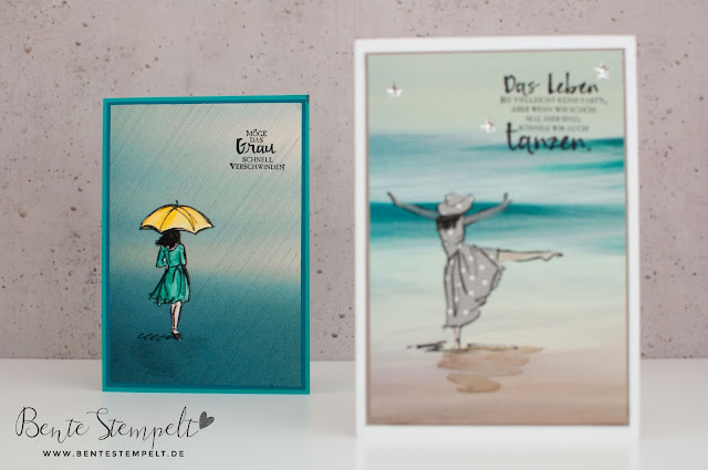 Stampin' Up! Karte Stempelset Mit Stil Beautiful You DSP DEsignerpapier gemustertes Papier Stille Natur Technik Anleitung doppelt gestempelt ausgeschnitten Regenschirm Regen Gorgeous Grunge