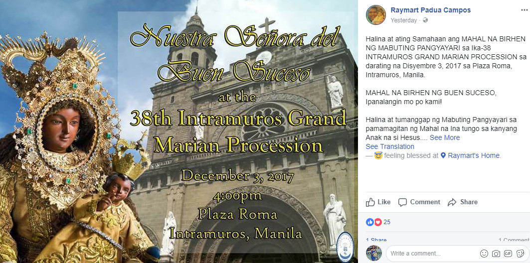 38th grand marian parade intramuros