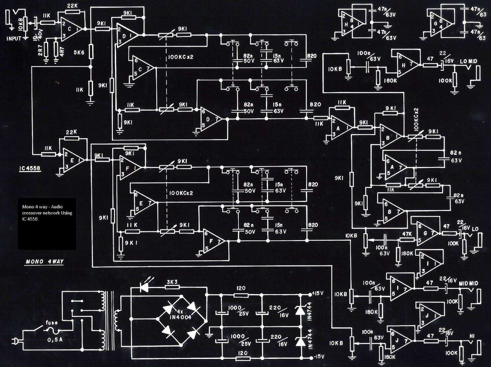 Stereo 3 Way Mono 5 Crossover And Hi Power Amplifier Using Schematic Diagram Circuit Ic 4558