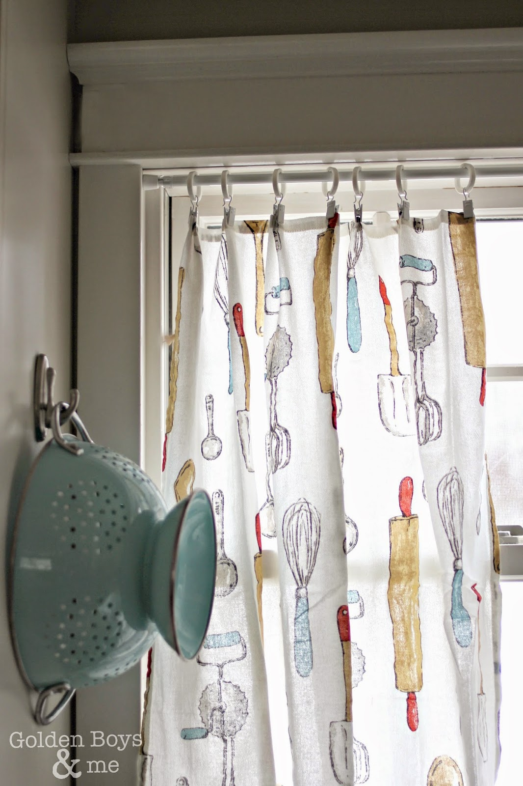 kitchen dish towels craftsman cabinets golden boys and me turned curtains easy diy made with www goldenboysandme com