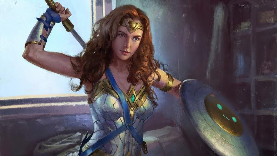Wonder Woman, Sword, Shield, Art, DC, Superhero, 4K, #6.1212