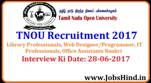TNOU Recruitment 2017