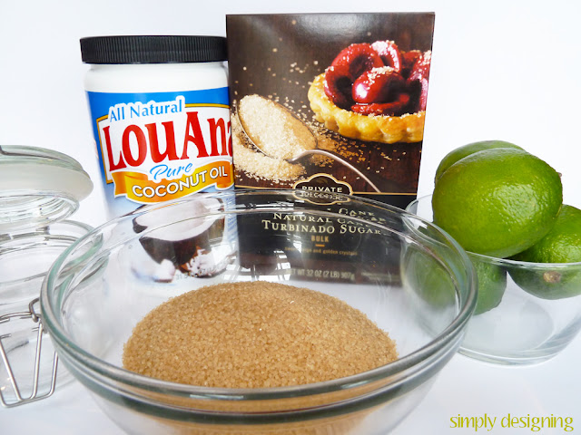 Ingredients to make raw sugar scrub - A mixing bowl with raw sugar in it, a bowl with limes in it and the jar of coconut oil