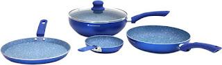 Wonderchef Royal Velvet Blue Set of 4Pcs - Induction Base Induction Bottom Cookware Set