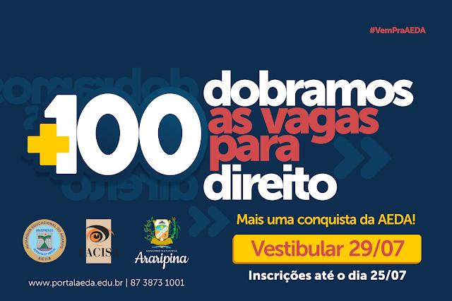 AEDA/Facisa oferecem 100 vagas para Direito no vestibular 2018.2