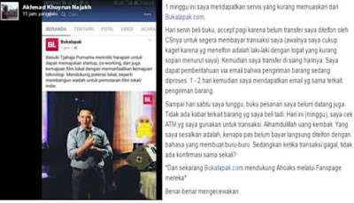 Lantaran Posting Ahok ,Bukalapak mendapat sorotan publik