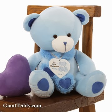 Peek-a-boo Hugs is the sweet blue teddy bear