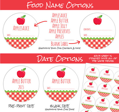 Gingham Apple Canning Jar Labels