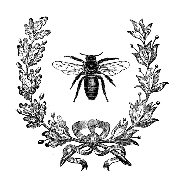 Graphic: Vintage Bee and Wreath