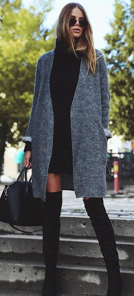 how to style a coat : dress + bag + over the knee boots