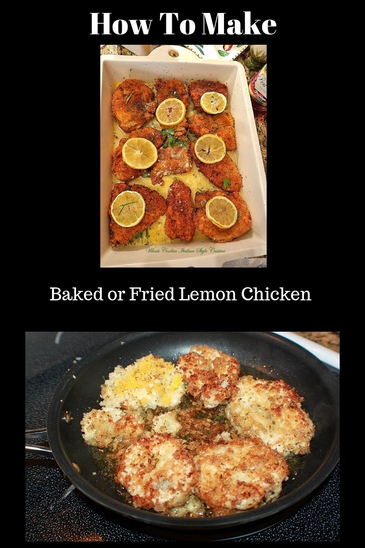this is a lemon baked chicken in a white porcelain baking dish with sliced lemons on top. This is how to make a baked lemon chicken healthier and lower in calories. Show in two photos a fried version and the baked version of lemon chicken
