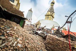 Bodhnath Stupa, Kathmandu, nach dem Beben 2015