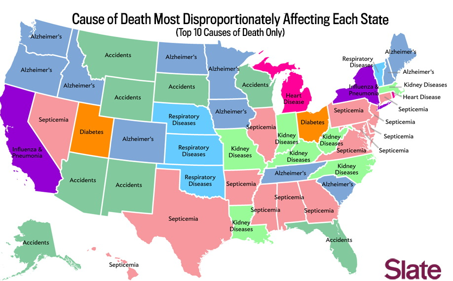 Cause of death most disproportionately affecting each state