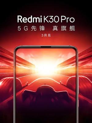 Redmi K30 Pro resmi posteri, çentiksiz ekranı, açılır kamerayı ve Mart lansmanını doğruladı
