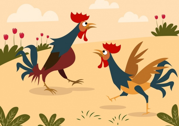 Chicken drawing colored cartoon design Free vector