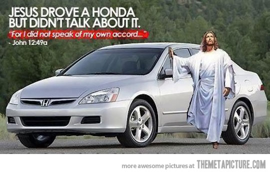 What would Jesus drive? Jesus drove a Honda but didn't talk about it. 'For I did not speak of my own Accord.' A Post Rapture Post. How to avoid the post rapture driving hazards. marchmatron.com