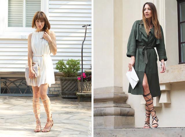Девушки в платьях и сандалиях гладиаторах