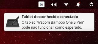 """Notificação do sistema - O tablet """"Wacom Bamboo One s Pen"""" pode não funcionar como esperado."""
