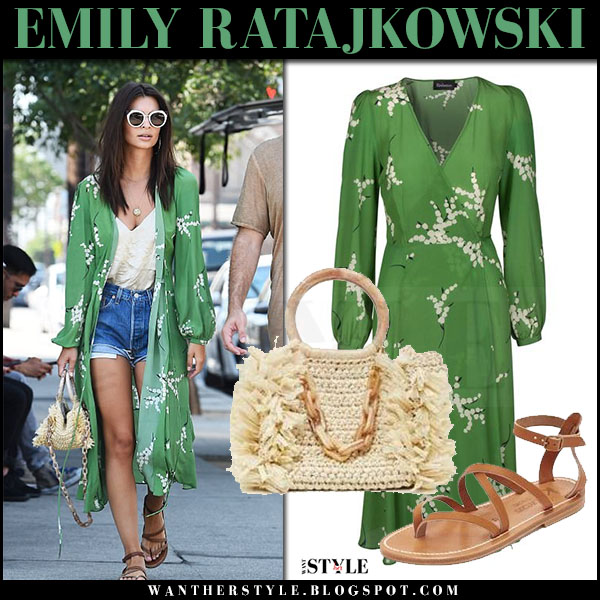Emily Ratajkowski in green printed kimono with beige raffia tote carolina santo domingo what she wore street style july 11 2017